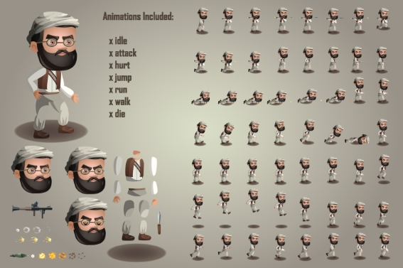 game terrorists character free sprites sheets