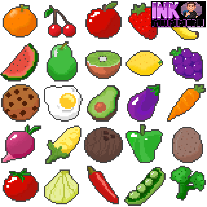 Pixel Art Food Pack By Inkmammoth Opengameart Org