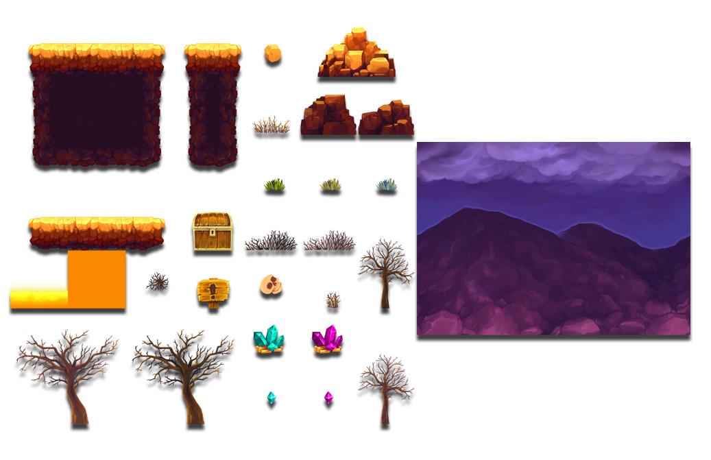 free volcano platform tileset opengameart org