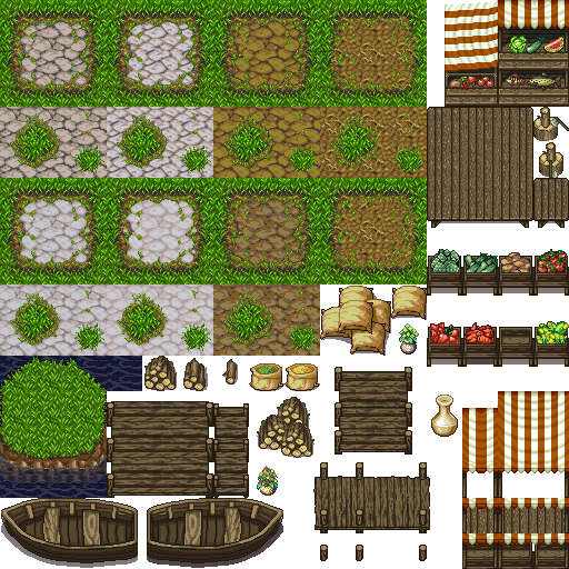 RPG Tiles: Cobble stone paths & town objects | OpenGameArt.org
