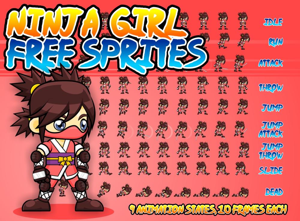 Ninja Girl Free Sprite Opengameart Org