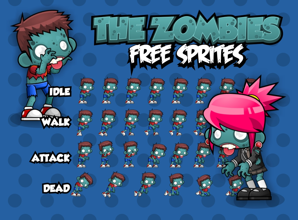 the zombie free sprites opengameart org