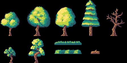 Pixel Art Simple Trees Opengameart Org