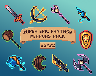 Super Epic Weapons Fantasy Pack FREE | OpenGameArt org