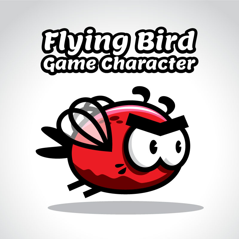 Bevouliin Free Red Flappy Bee Bird Game Character sprite