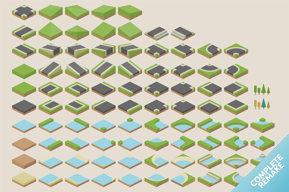 Isometric road tiles (Nova) | OpenGameArt org