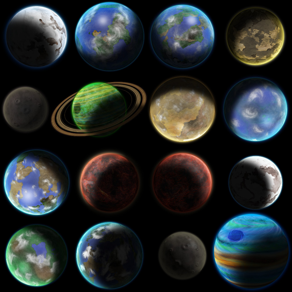 16 planet sprites opengameartorg