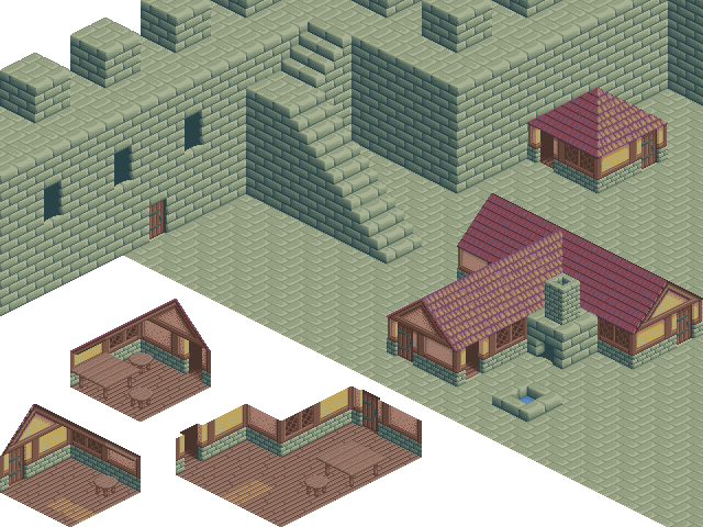 Isometric 64x64 Medieval Building Tileset Opengameart Org