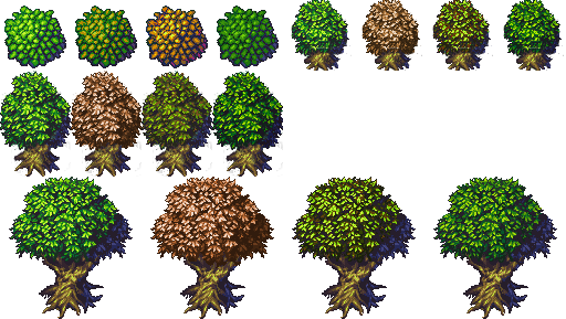Tree variations from Jetrel's Wood tileset | OpenGameArt.org